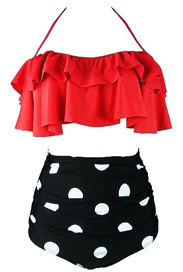 7e3bc07b82 Cocoship Women s Retro Boho Flounce Falbala High Waist Bikini Set Chic  Swimsuit(FBA) -