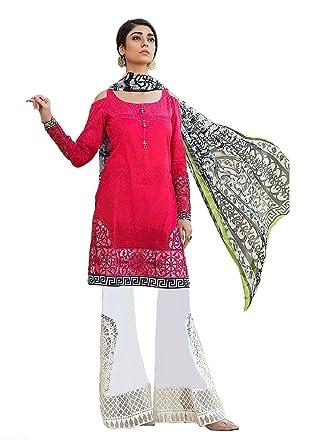 0e6faea5 Madeesh Women's Cambric Cotton Embroidery Patch Work Semi Lawn Bottom  Digital Printed Chiffon Dupatta Pakistani Concept