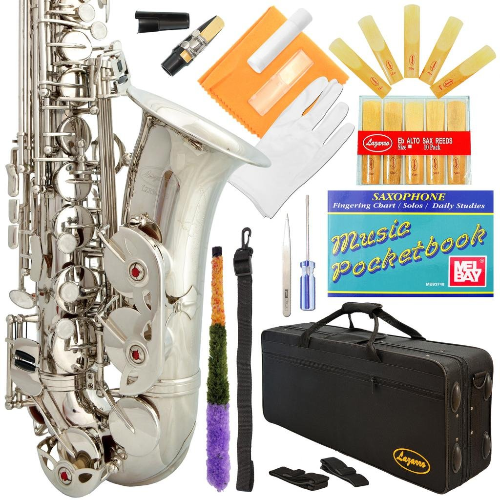 Lazarro Eb E Flat Alto Saxophone with Music Pocketbook, Case and Care Kit (SILVER Nickel)