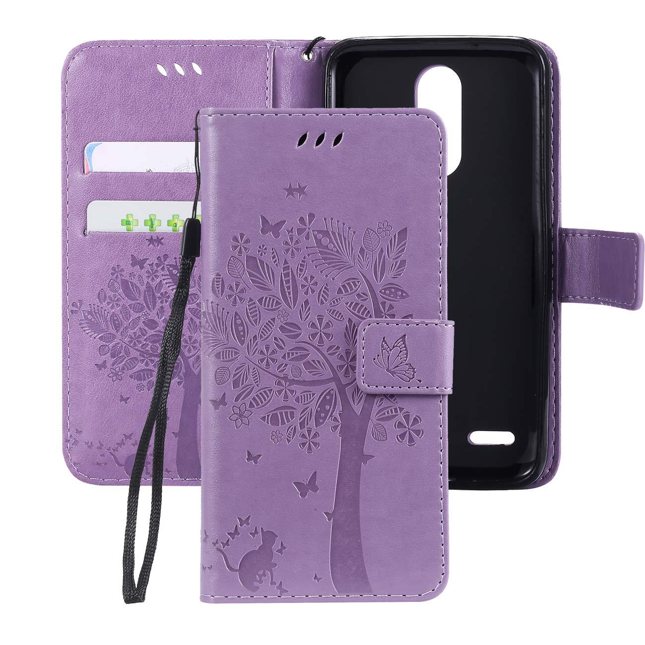 LG K30 Case,LG Phoenix Plus Case,LG Premier Pro LTE Case,LG K10 Alpha,LG K10 2018 Flip Case,PU Leather Wallet Embossed Floral Tree Cat Case with Kickstand Flip Cover Card Holder Light Purple