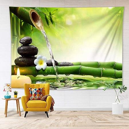 LB 200x150cm Tapiz de Pared Zen SPA Colgar de Pared Orquídea Blanca y Bambú Verde Tela Pared Jardín japonés Tapices para Sala Dormitorio Decoración Pared: Amazon.es: Hogar