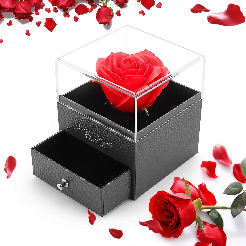 ASANMU Regalo para Rosa Eterna Artificial, Rosa Eterna Caja de Joyería Bella y la Bestia ...