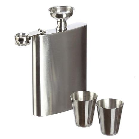 Cozywind Petaca de Acero Inoxidable con 2 Vasos y 1 Embudo, 8oz, para Whisky Licor Alcohol, Caja de Regalo