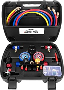 AURELIO TECH 2020 UPGRATE Version 4 Way A/C Manifold Gauge Set Fits R134A R410A R404A R22 Refrigerants with 5FT Hose, 3 Acme Tank Adapters, Adjustable Couplers and Can Tap