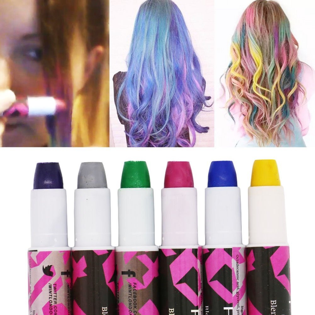 SOOKOO 6 Color Hair Chalk Set, Metallic Glitter Temporary Hair Color, No Mess, Built in Sealant, Works on All Hair Colors, 6 Count by SooKoo (Image #6)