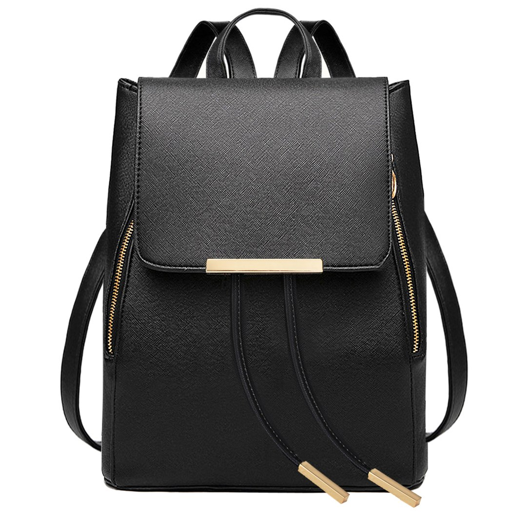 19a136ebffc Amazon.com  COOFIT Black Faux Leather Backpack for Women Schoolbag Casual  Daypack  Clothing