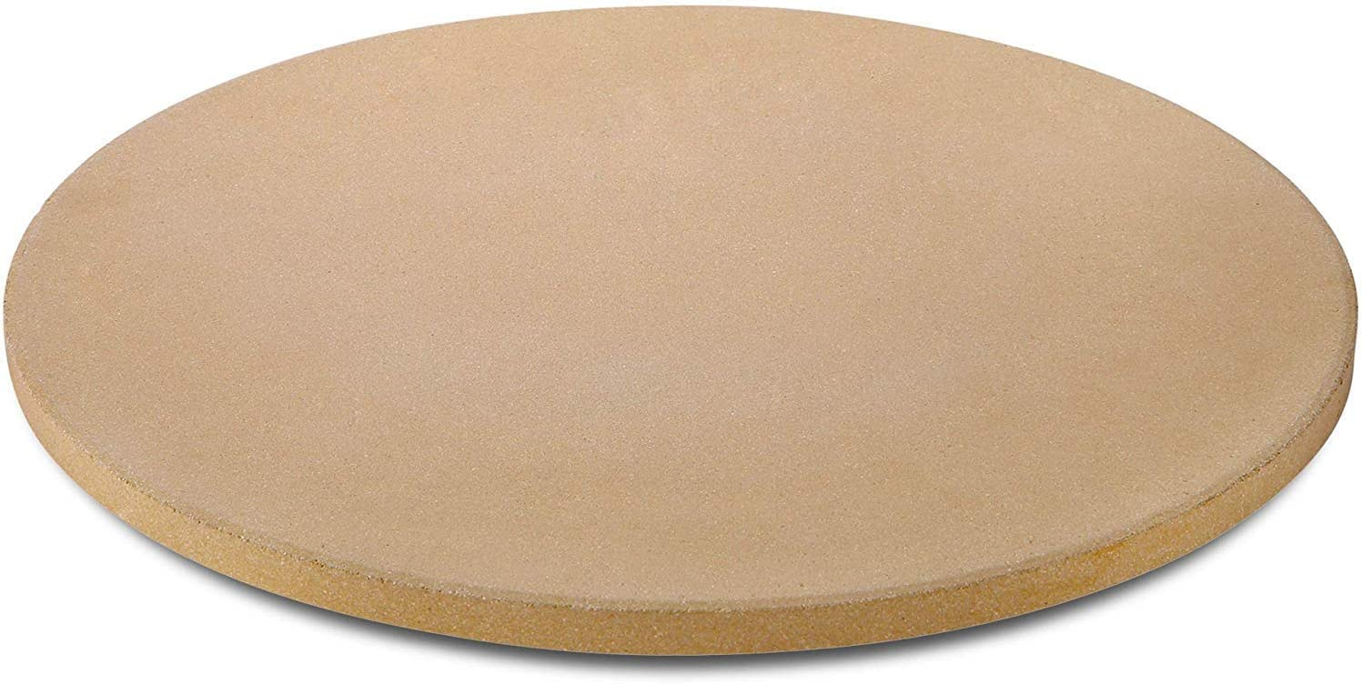 GOVOG Pizza Stone for Oven Grill Bread Round Cordierite Ceramic Durable BBQ Baking Pan with Cleaning Brush