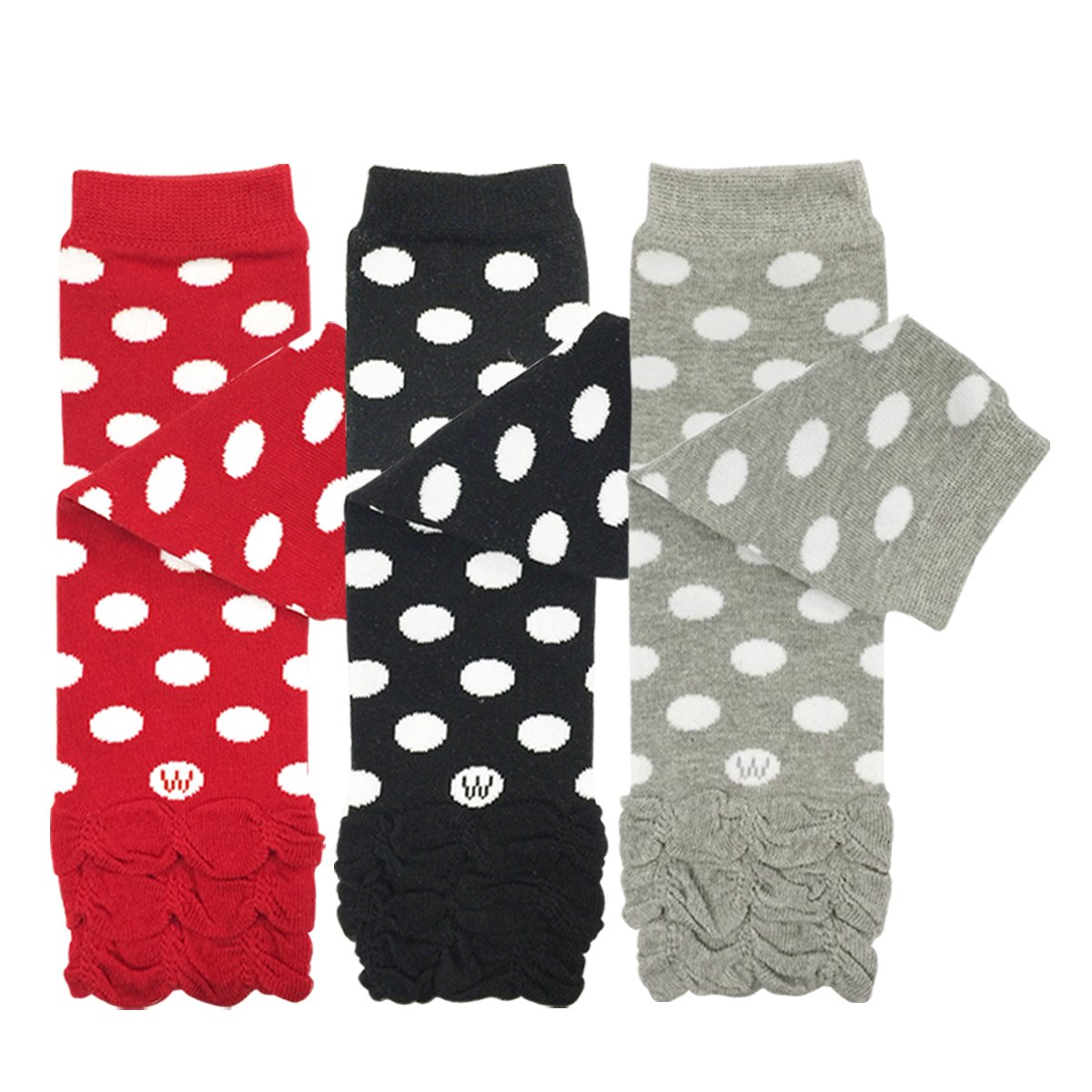 ALLYDREW 3 Pack Polka Dots, Ruffles & Stripes Baby Leg Warmer & Toddler Leg Warmer for Boys & Girls, Red, Black, Gray