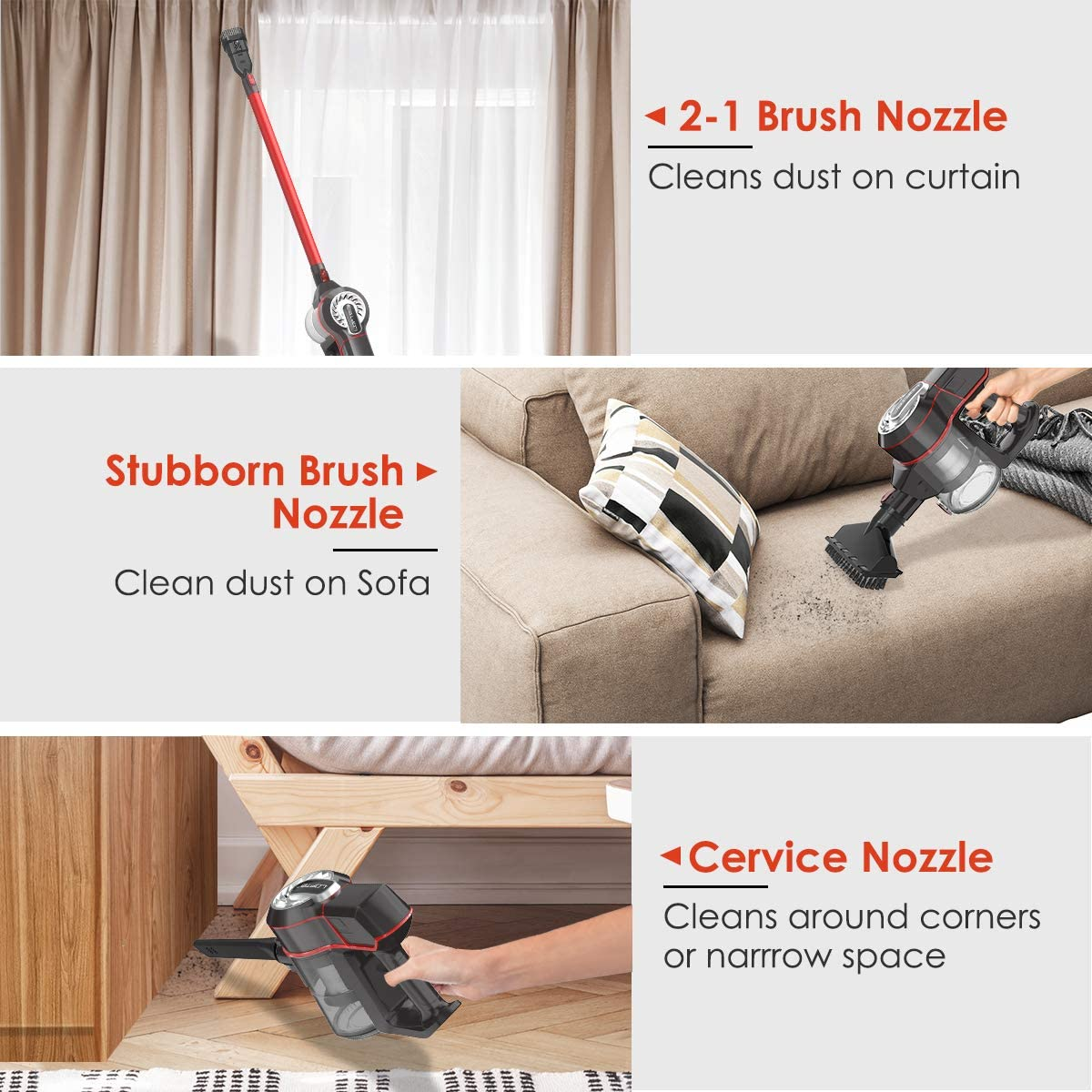 Cordless Vacuum Cleaner LOFTER 4 in 1 Powerful Suction Stick Vacuum Cleaner 150W 2200mAh Handheld Vacuum Cleaner for Clean Home Hard Floor Carpet Curtain Sofa Bed Car Pet Hair with Multi-attachments