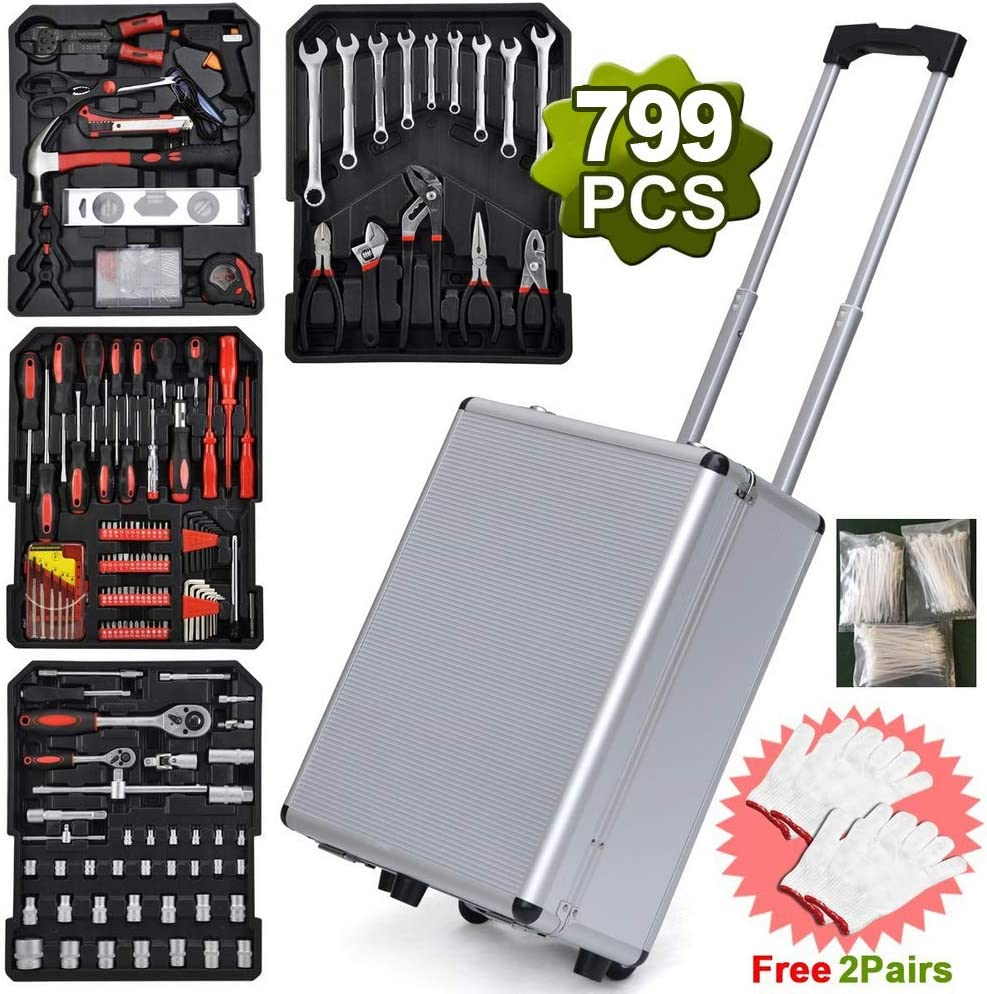 Auto Repair Tool Kit Toolbox and Wheels TUFFIOM Tool Box with Tools 799pcs Household Tool Set with Aluminum Trolley Case