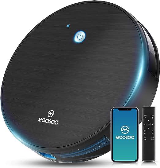 Aspiradora de robots, conectividad Wi-Fi MOOSOO 1800PA aspiradora robótica con auto-carga 360° ...