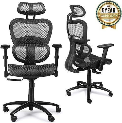 Mysuntown Office Mesh Chair, Ergonomic Task Chair with Back Lumbar Support, Adjustable Headrest Adjustable Armrests Black