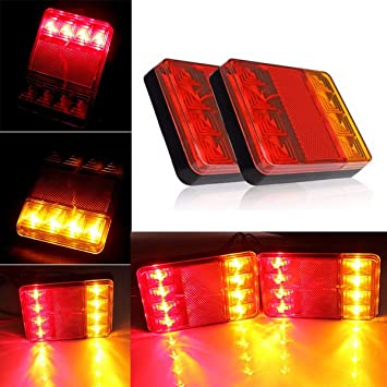 luces de cola LED Lamparas de luz trasera Junta freno de cola de indicador lampara de remolque carro y camion: Amazon.es: Coche y moto