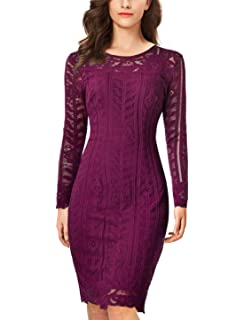 38da7ccd8b Long Sleeve Lace Bodycon Scalloped Knee Length Cocktail Party Dress ...