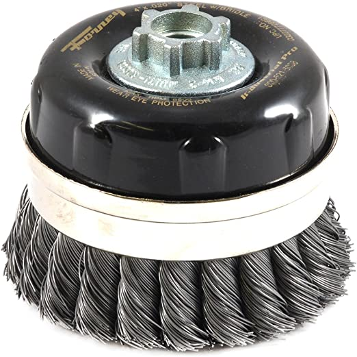 TWIST Wire Cup Brush,Knotted with 5//8-Inch-11 Threaded Arbor,4-Inch-by-.020-Inch