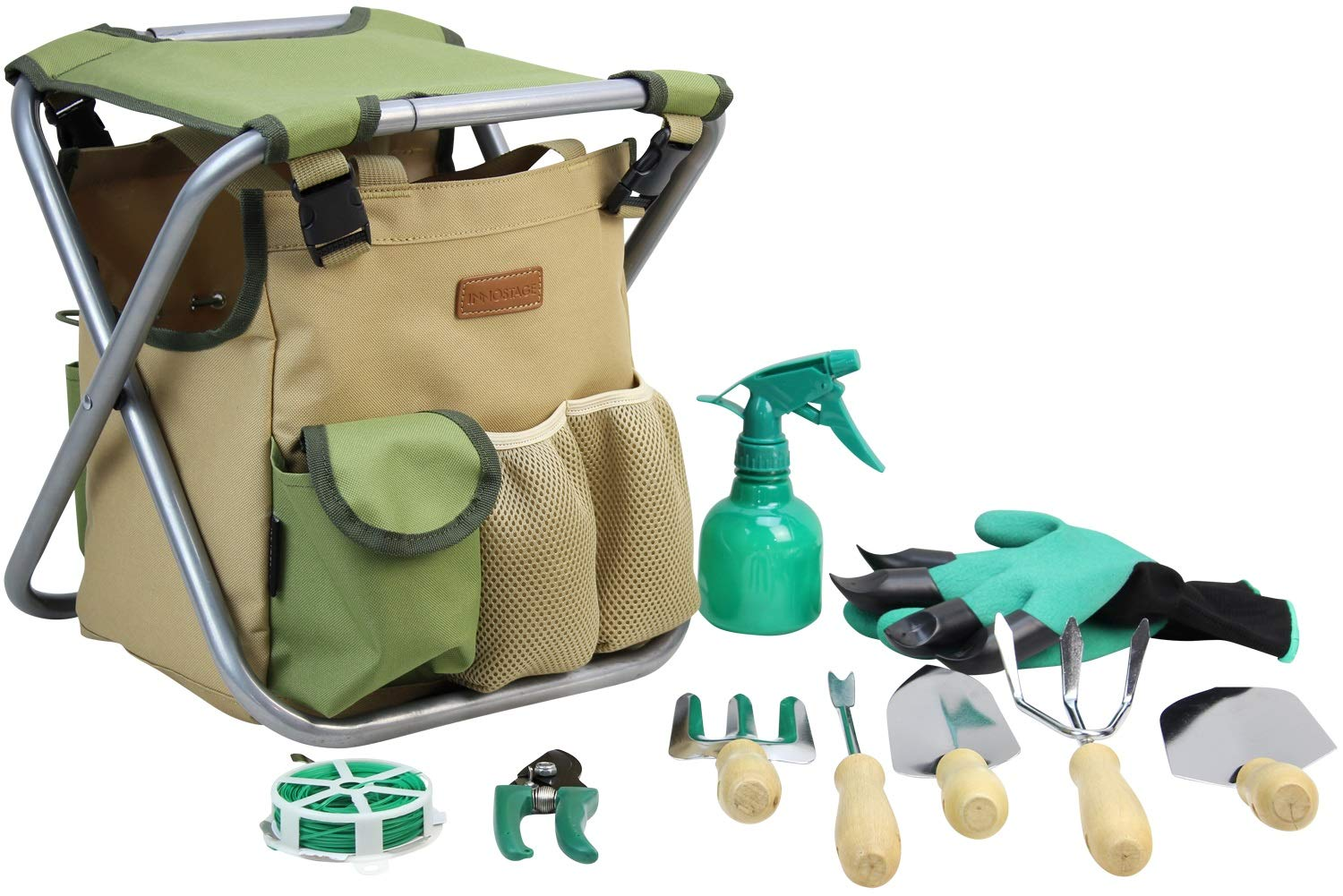 INNO STAGE 10 Piece Gardening Hand Tools Set with Garden Storage Tote Bag and Seat-Best Garden Tools Kit Organizer by INNO STAGE