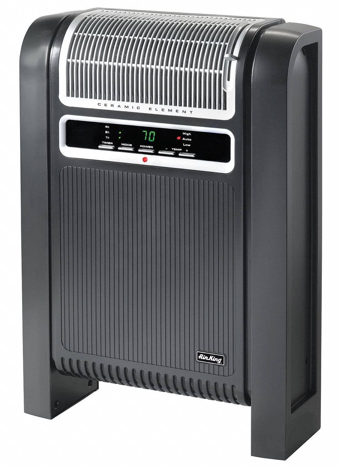 """AIR King 6-1/2"""" x 16-11/16"""" x 24-15/16"""" Fan Forced Electric Space Heater, Black/Silver, 120VAC"""