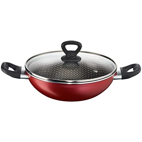 Tefal Simply Chef Non-stick Kadhai with Lid, 20cm (Rio Red) Kadhai & Woks at amazon