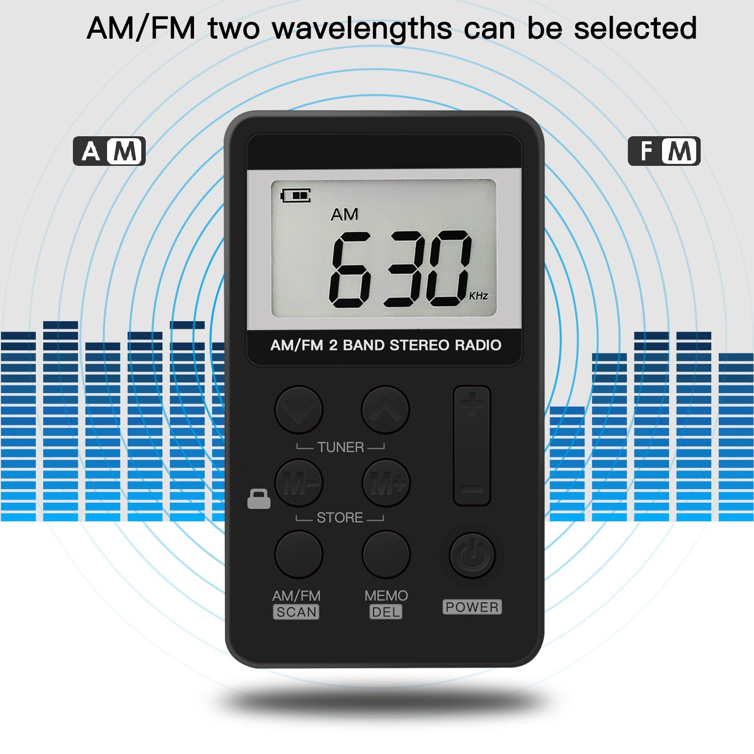 Upgrade Portable Radio, Digital Tuning AM/FM Portable Stereo Personal Radio with Earphone for Walk/Jogging/Gym/Camping by ANTOGOO (Image #5)