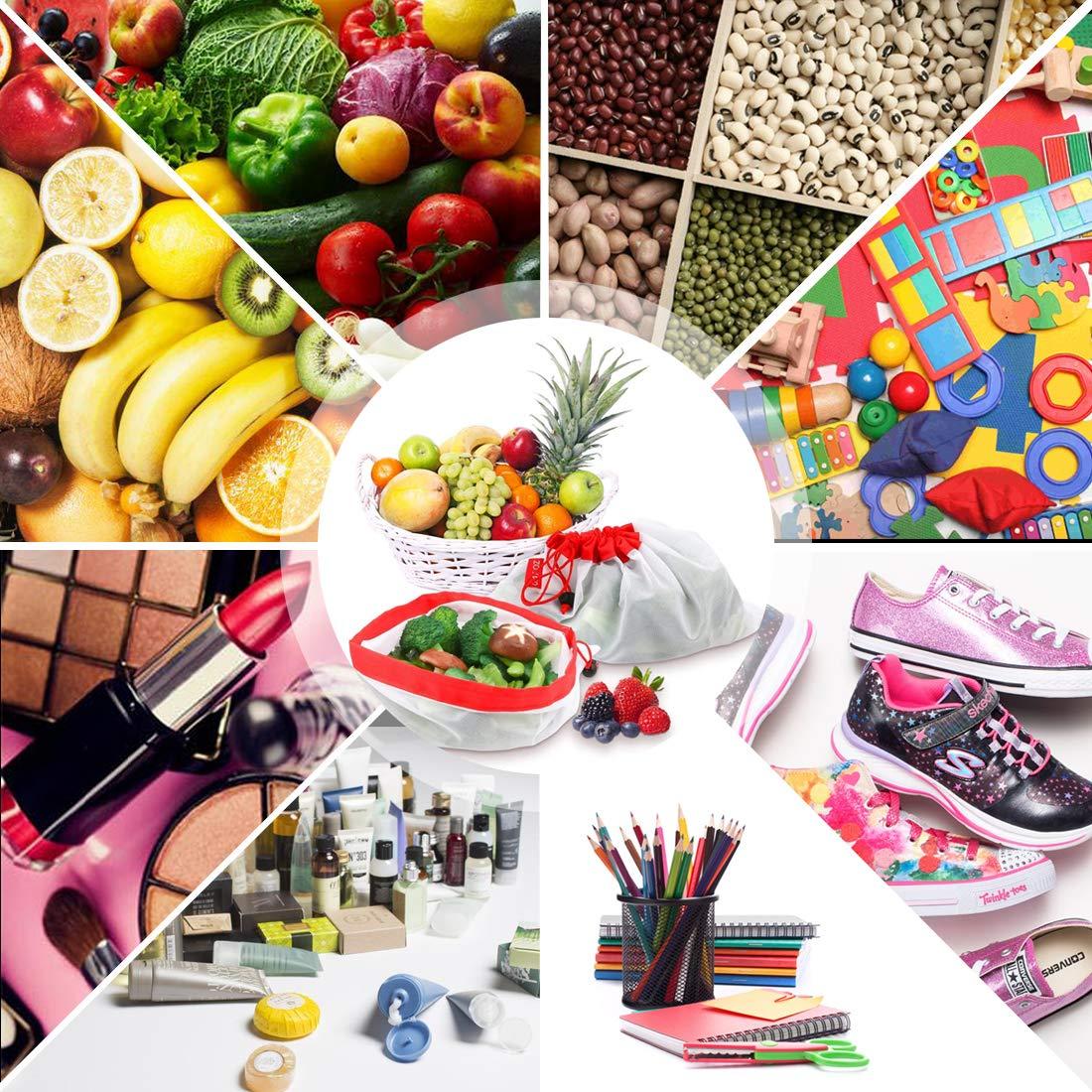 15 Unidades para Almacenamiento de Compras de comestibles con Peso de Tara en Etiquetas AUSYDE Bolsas Reutilizables de Malla para Productos de Frutas y Verduras ecol/ógicas