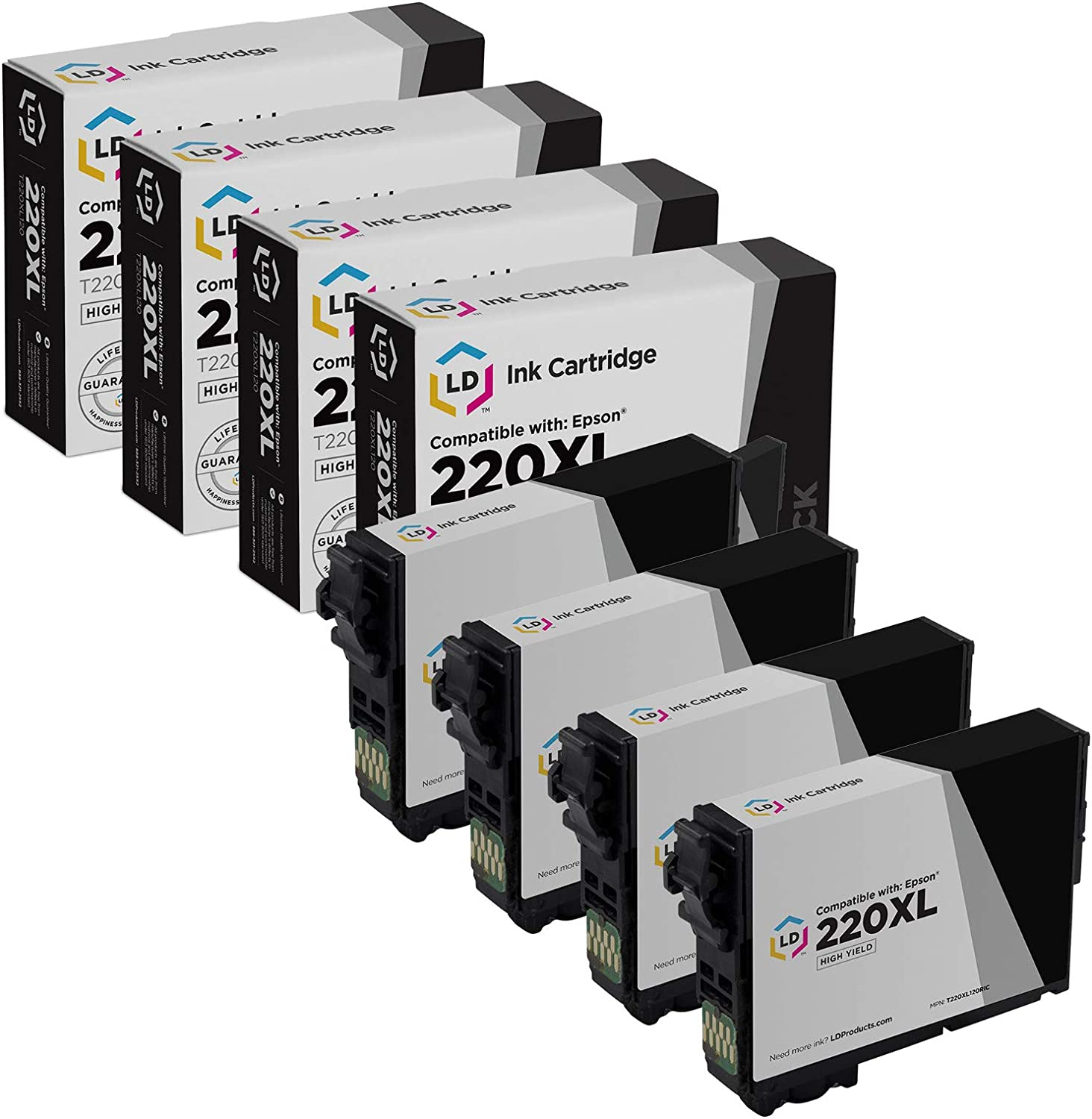 LD Remanufactured Ink Cartridge Replacement for Epson 220XL T220XL120 High Yield (Black, 4-Pack)