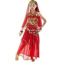 BELLYQUEEN Halloween Déguisement Costume Oriental Belly Dance Costume Accessoires Ensemble Danse du Ventre 7 Pcs Top+Jupe+Ornement de la Tête+Foulard+Bracelets 3-11ans Jaune Rouge