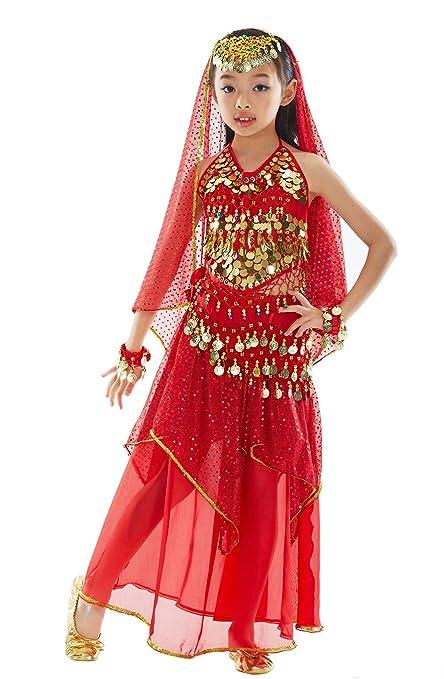 BELLYQUEEN Traje de Danza de Vientre 7 Piezas Top Falda Accesorios Ropa de Baile Oriental India Fiesta Niña 3-5 Años - Rojo