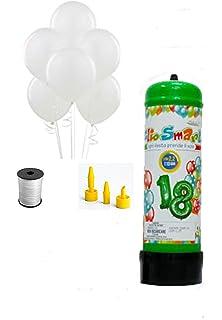 Juego de bombona de helio con 25 globos blancos, hilo y dispensador. Ideal para