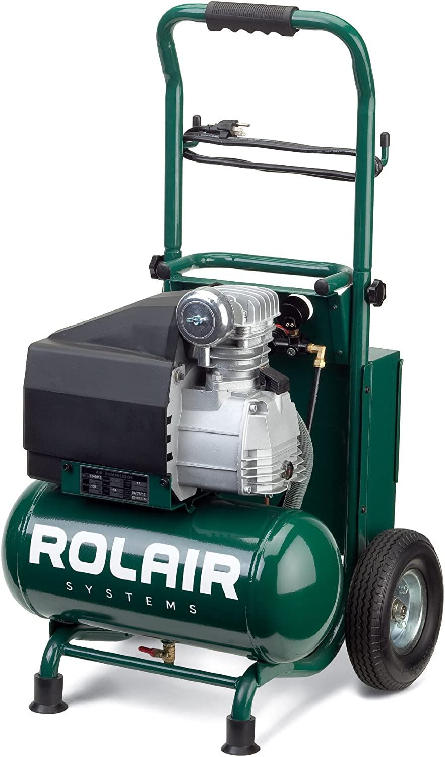 Rolair VT20TB 2 HP Wheeled Compressor with Overload Protection and Manual Reset