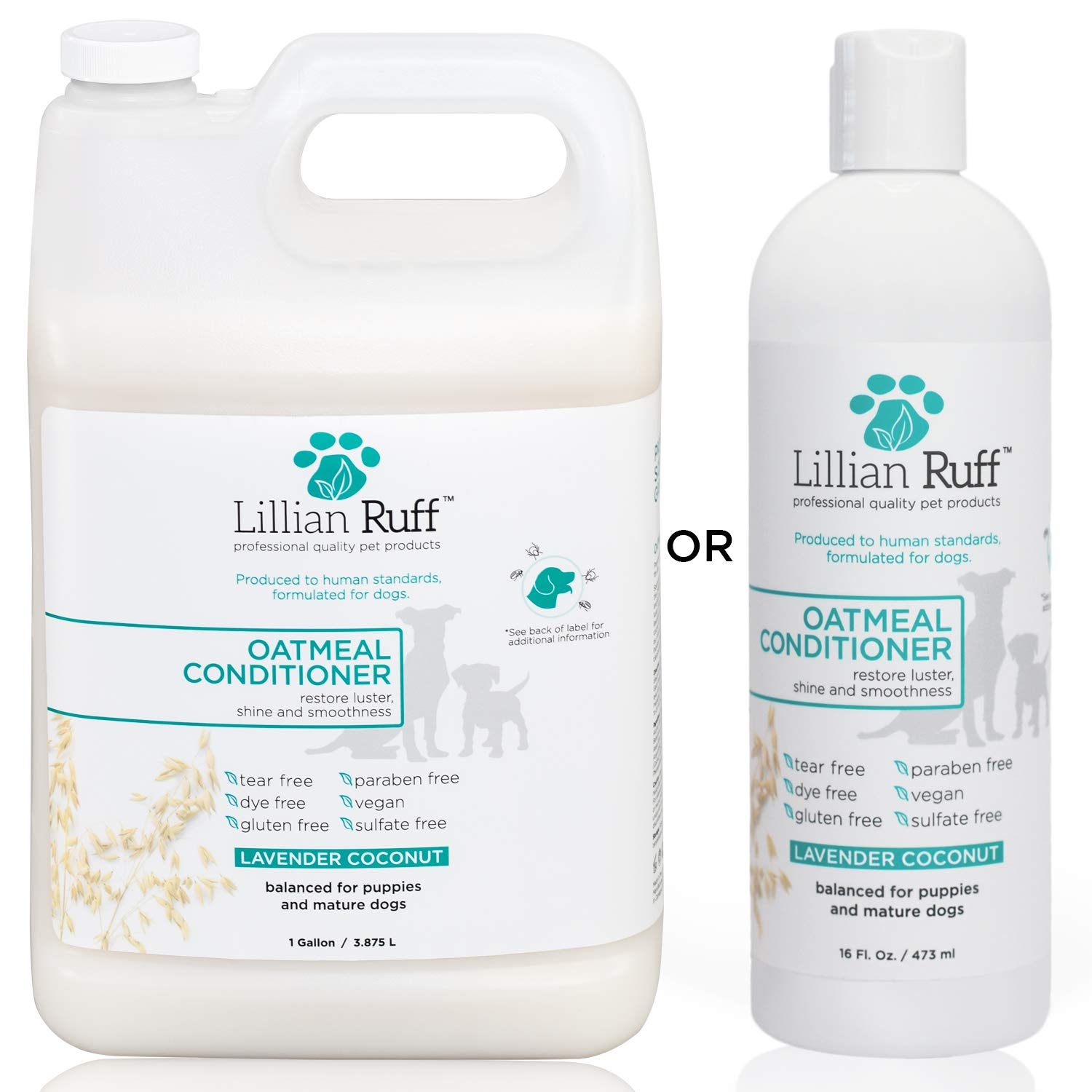 Lillian Ruff Dog Oatmeal Conditioner - Safe for Cats - Lavender Coconut Scent for Itchy Dry Skin with Aloe - Soothe Skin Irritation and Relieve itching