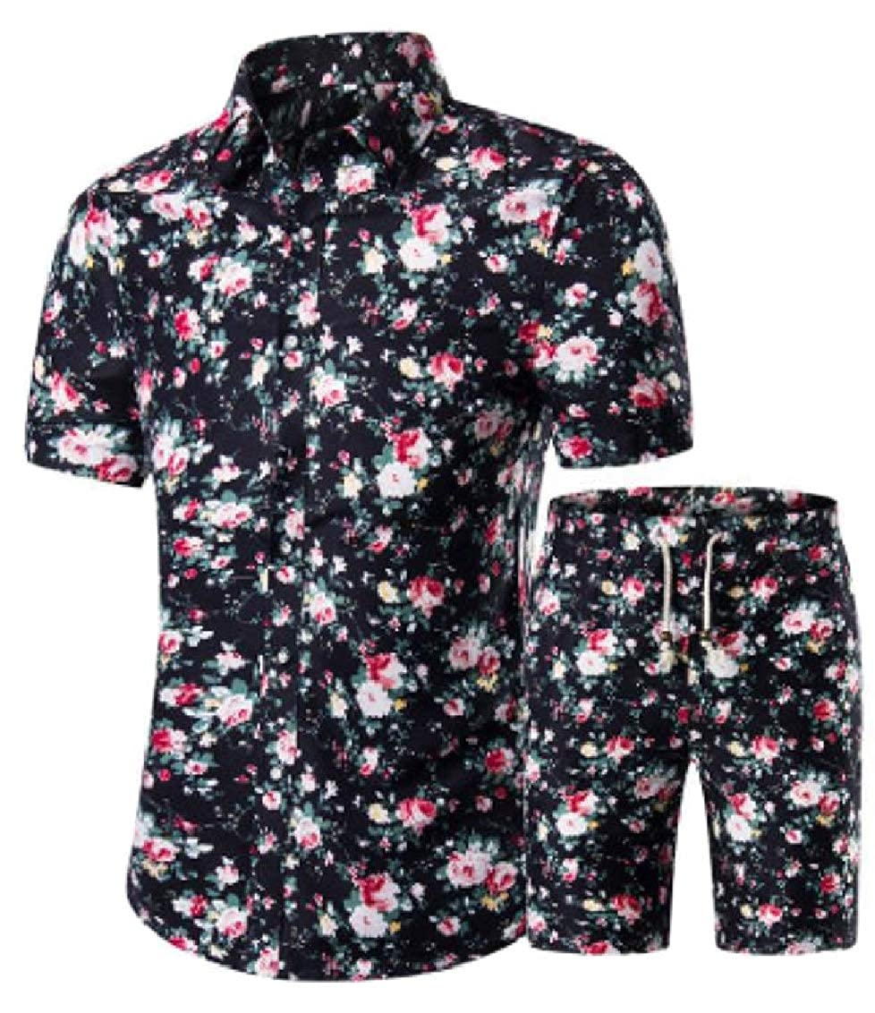 Hajotrawa Mens Short Sleeve Summer Sport Floral Print Shirt and Shorts Outfits