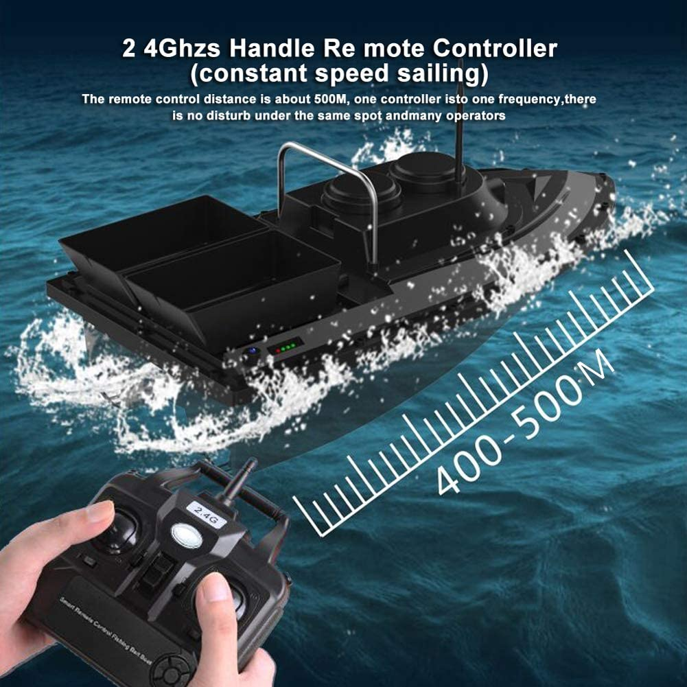 500M RC Wireless Fishing Bait Boat With 2 Motors 2 Spare Batteries Handbag