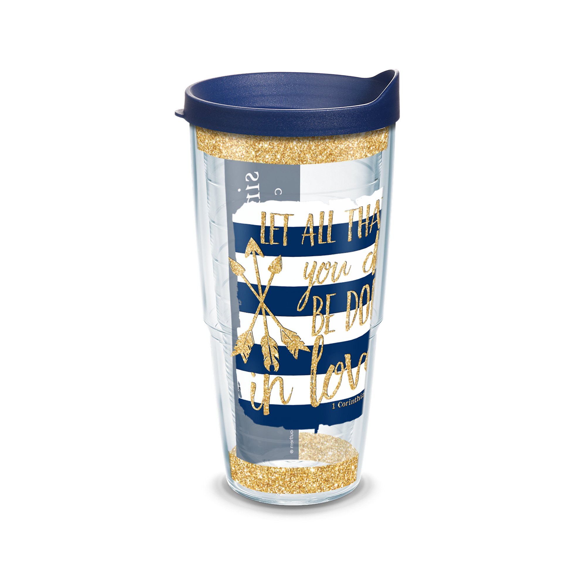 Tervis Simply Southern Quote Sparkle Wrap Clear Inner Tumbler with Navy Lid, 24 oz