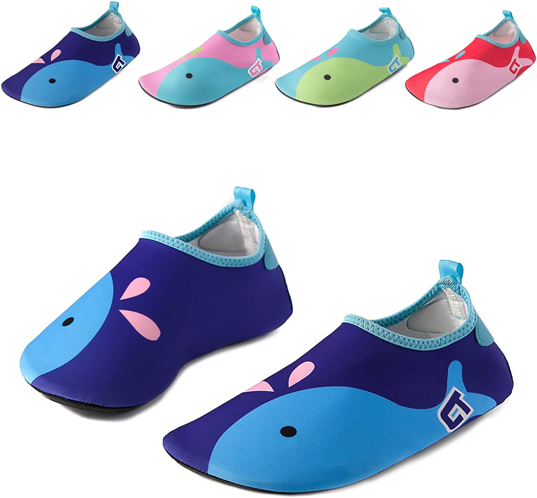 2 Pack Vingi Kids Water Shoes Toddler Non-Slip Beach Barefoot Aqua Socks Lightweight Quick Dry Swim Shoes for Boys /& Girls