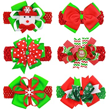 Christmas Hair Bows For Toddlers.Itaar Baby Christmas Headbands Toddler Girls Elastic Hair