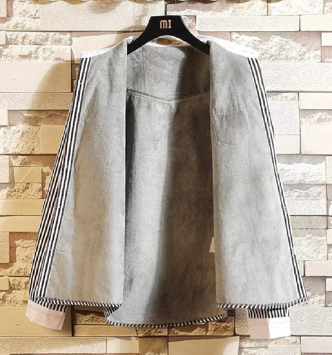 ZXFHZS Mens Long Sleeve Fleece Slim Fit Thick Stripe Button Down Dress Shirts