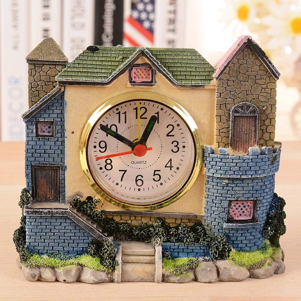 Hongge Mantel Clocks,Villa Castle Clock Antique Villa Resin Crafts 12.5 * 11.5 * 2.5cm