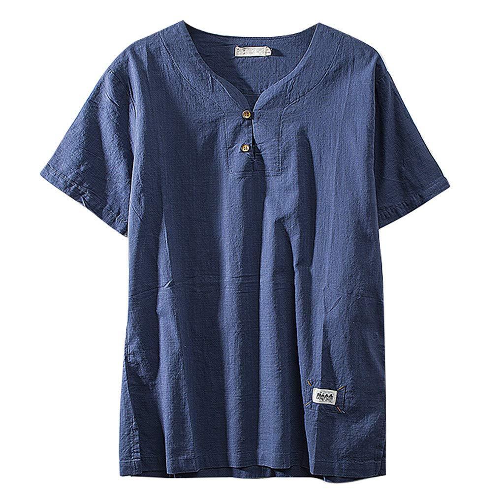 Sharemen Men's Summer Cotton Linen Tee Short Sleeve V-Neck Button T-Shirt Blouse Loose Tops(Blue,4XL)