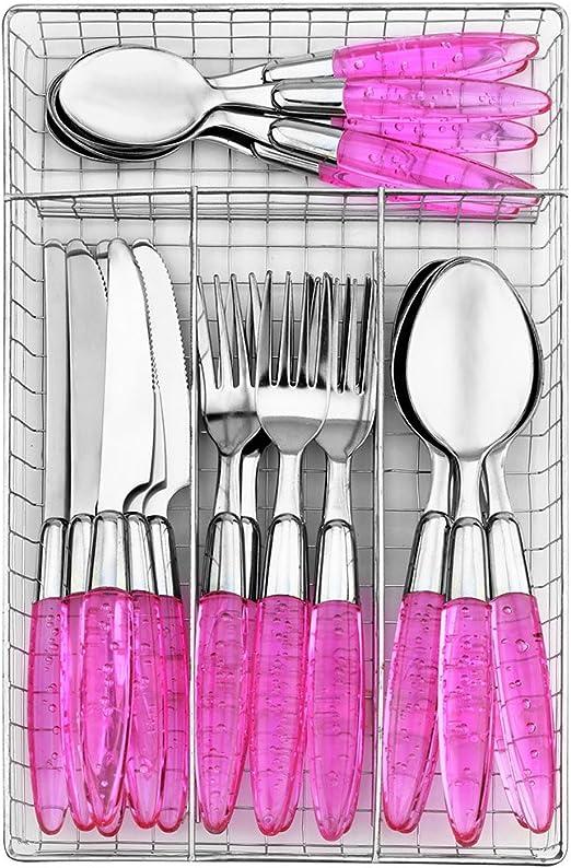 voyage rose fourchette Lot de 3 couverts portatifs Bleu//jaune//rose//vert de style europ/éen sain paille de bl/é camping pique-nique respectueux de lenvironnement