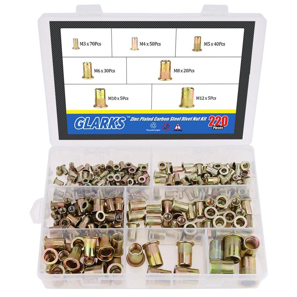 Glarks 220-Pieces Mixed Zinc Plated Carbon Steel Rivet Nut Kit Threaded Insert Nutsert - 7 Size M3 / 4/5 / 6/8 / 10/12 by Glarks