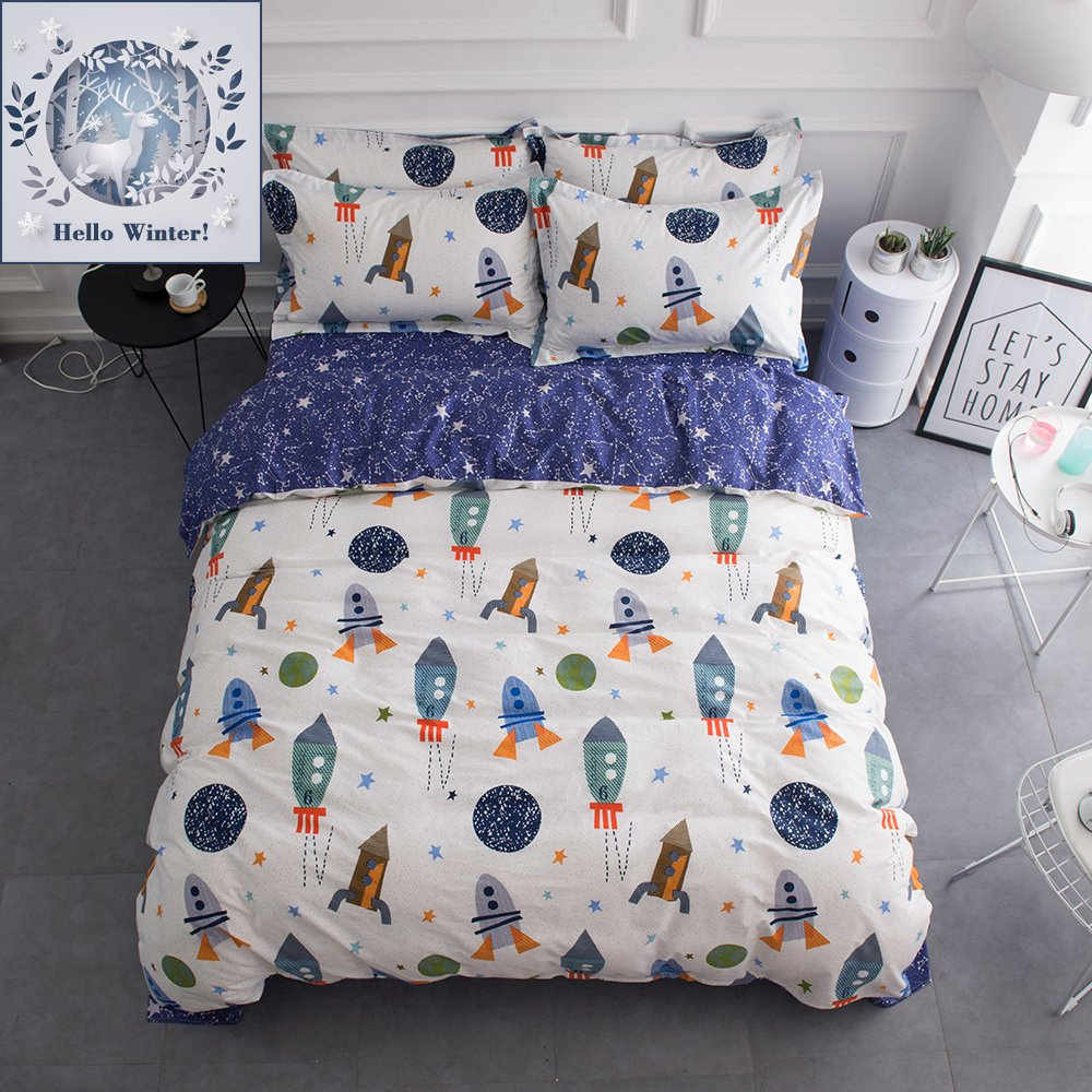 Bulutu space rocket print cotton boys bedding duvet cover sets queen white and blue 3 pieces 1 duvet cover and 2 pillowcases planet spaceship star full