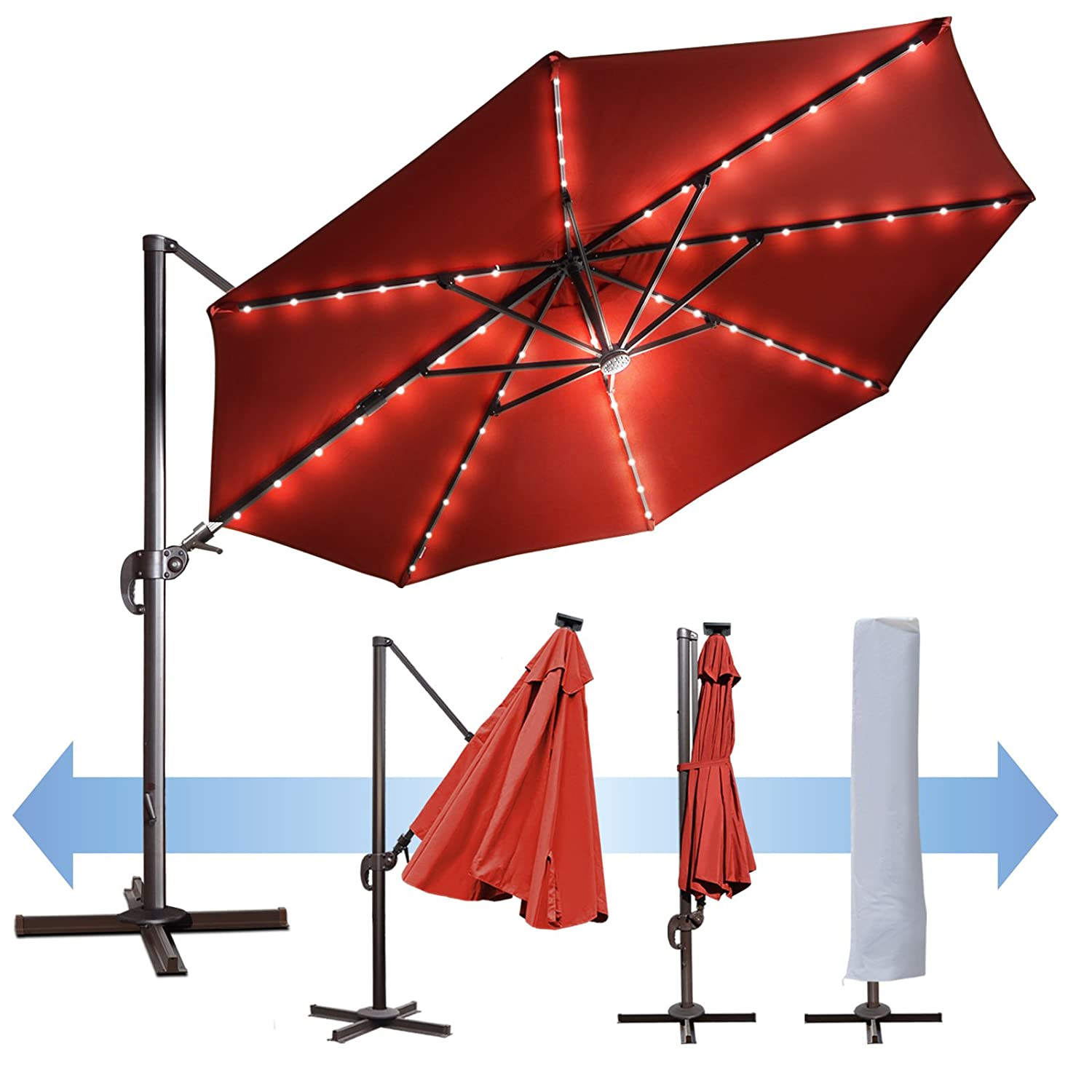 BenefitUSA 11.5' Deluxe Off-Set Hanging Roma Offset Umbrella UV 50+ Tilt & 360 Rotation Patio Heavy Duty Outdoor Sunshade Cantilever Crank With Protect Cover (HENNA) B079MB1YCN