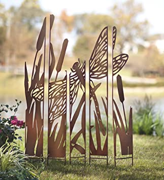 Outdoor Dragonfly Laser Cut Metal Garden Panel Stakes Silhouette Decorative  Privacy Screen Antiqued Natural Rust Patina