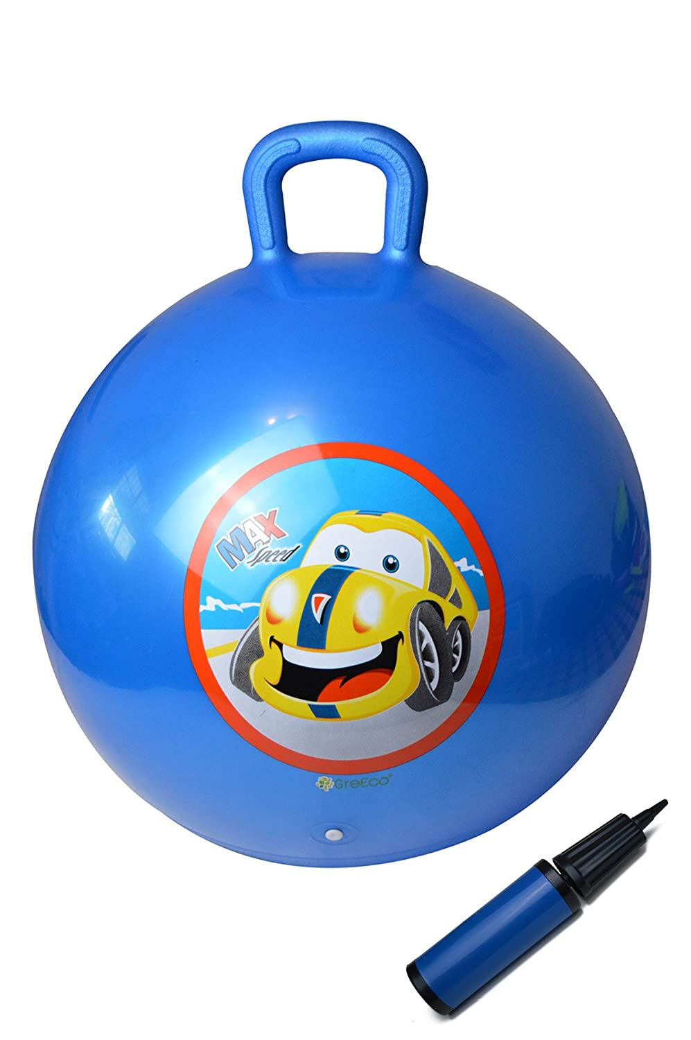 GreEco Space Hopper Ball Including Free Pump Kangaroo Bouncer Hippity Hop Bouncing Toy Diameter 55cm 22 Inch for Ages 6 9 Blue