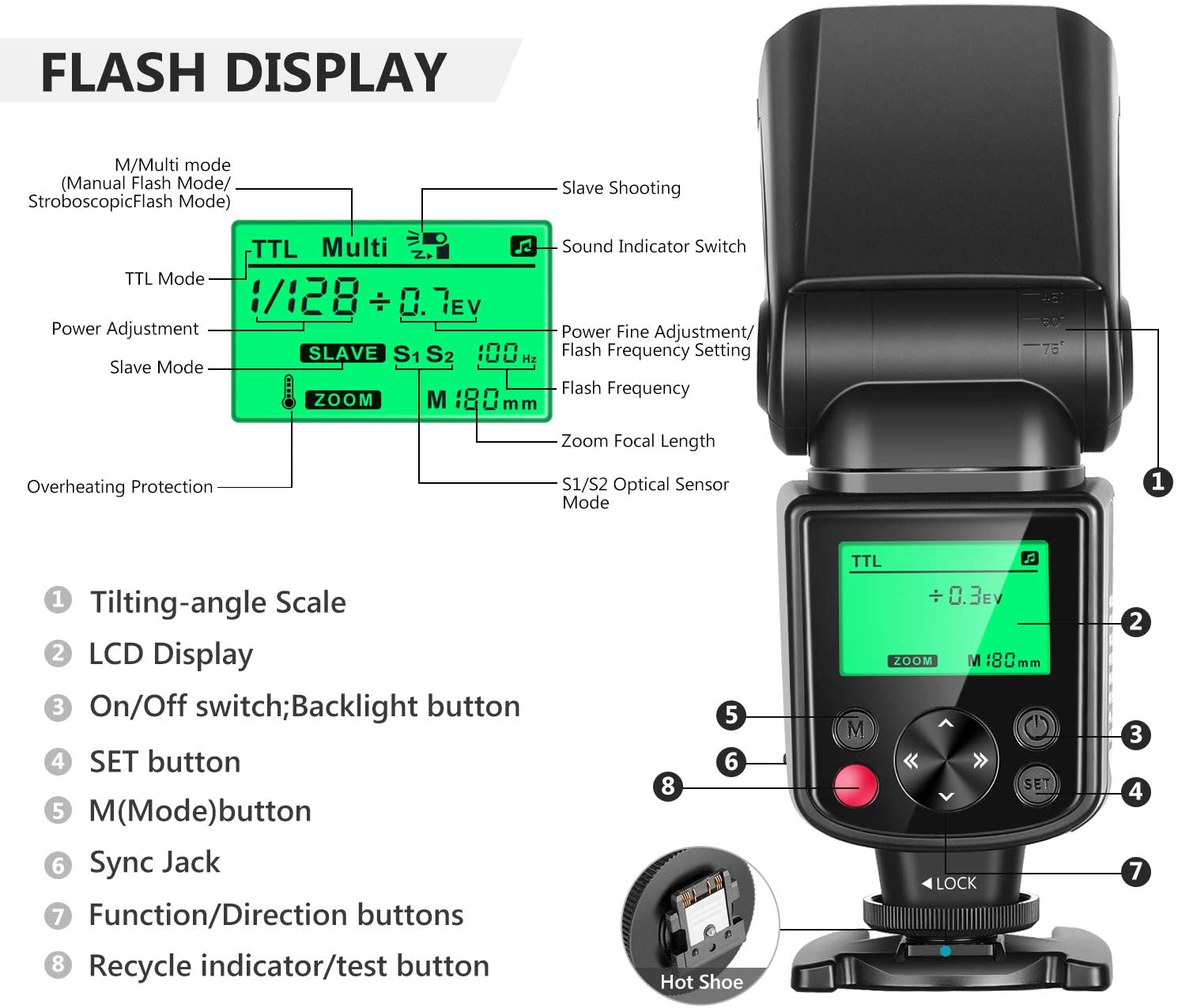 Neewer NW635 TTL GN58 Flash Speedlite with LCD Display Compatible with Sony MI Hot Shoe Mirrorless Cameras A9II A9 A7RIV//III//II A7III//II A7SII A6600 A6500 A6400 A6300 A6000 A99II A77II RX10II//III//IV