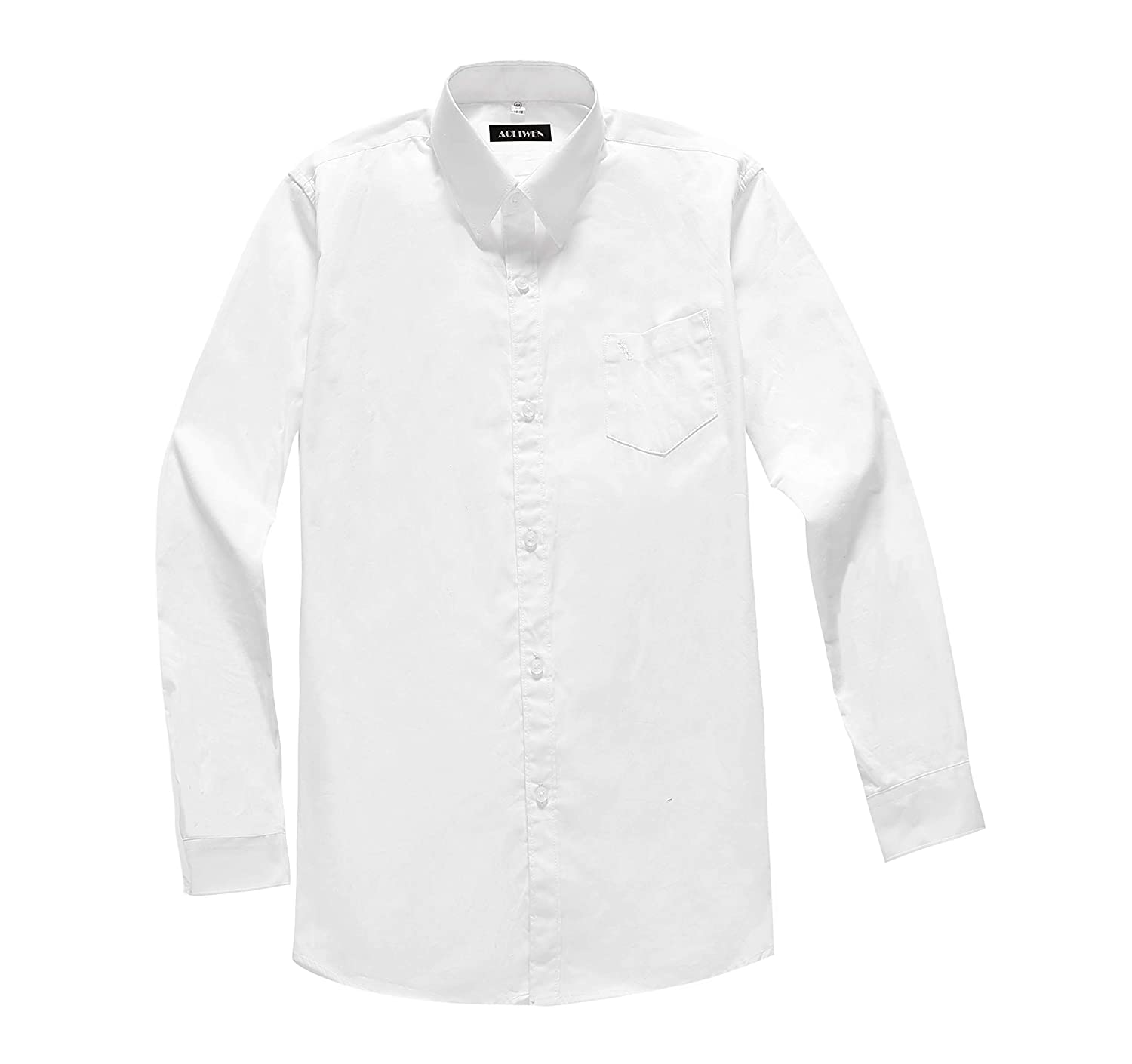 AOLIWEN Boy's Solid Long Sleeve White Dress Shirt School Uniform Shirts 3-16 Years