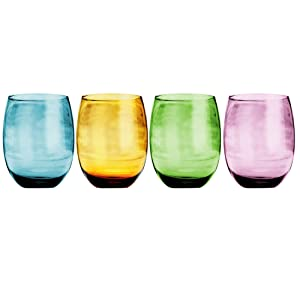 Napoli Elegant Drinkware Glassware Set of 4 Wine Beverage Glasses 14 Oz Tablesetter Perfect for Home Parties & Bars Vibrant Colors Purple Green Orange Blue - by Home Essentials & Beyond