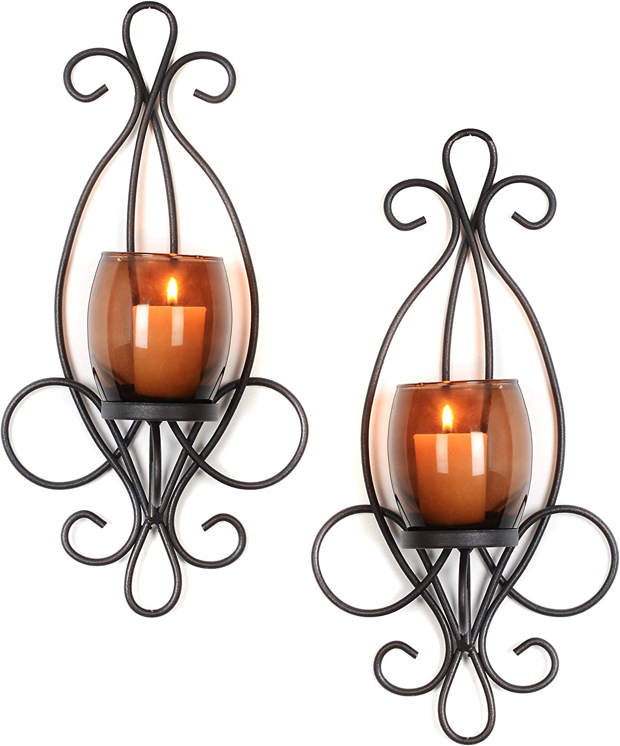 Set of 2 Enchanting Antique Style Metal Sconce Amber Clear Wall Mounted Votive Candle Holder Amber
