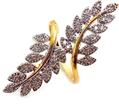 Buy JDX Gold Plated American Diamond Ring for Girls and