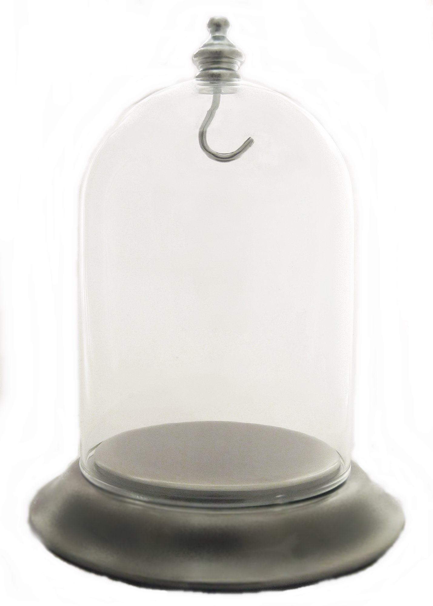 3''x4'' Pocket Watch Glass Display Dome Cloche with Satin Silver Chrome Base with Hook
